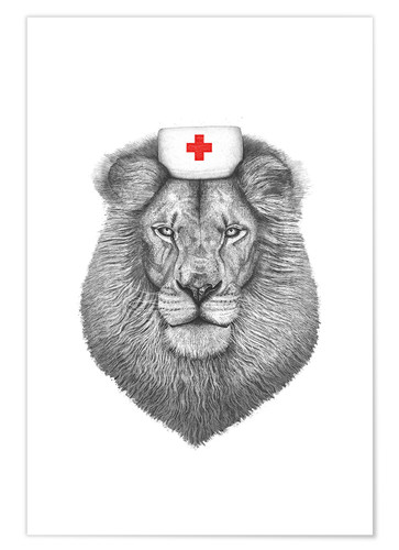 Premium poster Lion as a doctor
