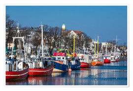 Premium poster  Fishing boats in Warnemuende, Germany - Rico Ködder