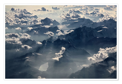 Premium poster Flight over the Alps I