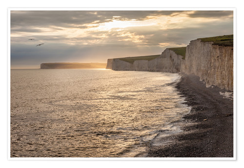 Premium poster Chalk cliffs Seven Sisters in southern England