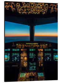 Aluminium print  A320 cockpit at twilight - Ulrich Beinert