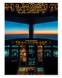Premium poster A320 cockpit at twilight