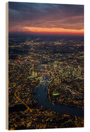 Wood print  Birds-eye view of London - Ulrich Beinert