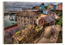 Wood print  Down To Tenby Harbour - Simon West