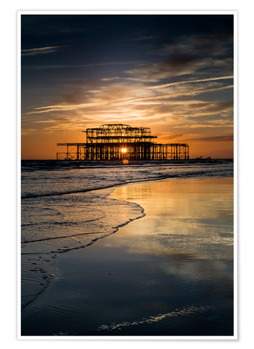 Premium poster Brighton West Pier Sunset