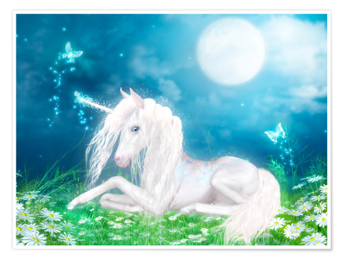 Premium poster Fairy magic unicorn