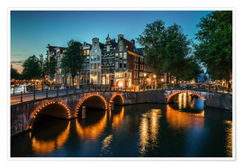 Premium poster Nightfall in Amsterdam, Netherlands