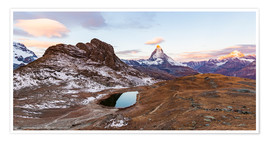 Premium poster Riffelsee and Matterhorn in Valais in Switzerland