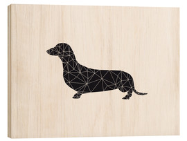 Wood print  Black dachshund - Nouveau Prints