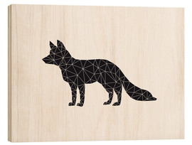 Wood print  Black fox - Nouveau Prints