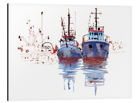 Aluminium print  Fishing cutter watercolor - Anastasia Mamoshina