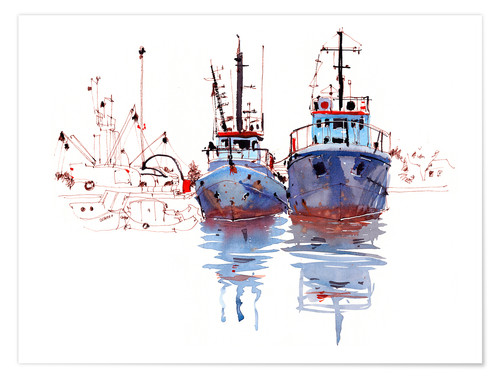 Premium poster Fishing cutter watercolor