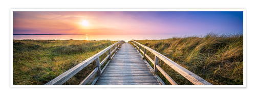 Premium poster Dunes panorama on the beach with wooden pier
