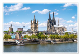 Premium poster  City view of Cologne in summer, North Rhine-Westphalia, Germany - Jan Christopher Becke