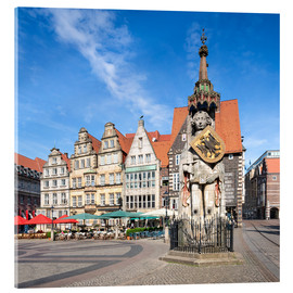 Acrylic glass  Historic Market Square in Bremen with Roland Statue - Jan Christopher Becke