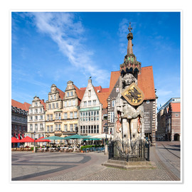 Premium poster  Historic Market Square in Bremen with Roland Statue - Jan Christopher Becke