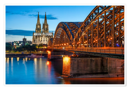 Premium poster Cologne Cathedral and Hohenzollern Bridge at night