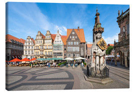 Canvas  Historic Market Square in Bremen with Roland Statue - Jan Christopher Becke