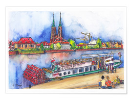 Premium poster  Breslau View to Ostrów Tumski (Cathedral Island) - Hartmut Buse