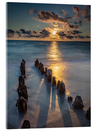 Acrylic print  Groyne on Sylt with sunset - Heiko Mundel