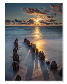 Premium poster Groyne on Sylt with sunset