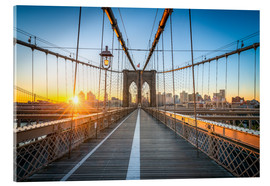 Acrylic print  Brooklyn Bridge at sunrise in front of the Brooklyn skyline - Jan Christopher Becke