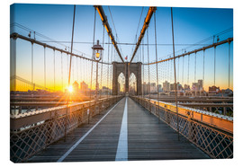 Canvas print  Brooklyn Bridge at sunrise in front of the Brooklyn skyline - Jan Christopher Becke