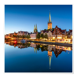 Premium poster Historic old town of Lübeck in the evening
