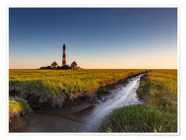 Premium poster Lighthouse Westerhever in the evening light