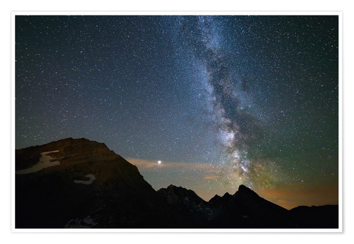 Premium poster Night sky, Milky way galaxy stars over the Alps, Mars and Jupiter planet, snowcapped mountain