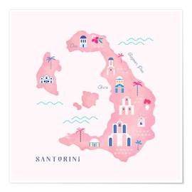 Premium poster  Santorini Map - Carly Watts