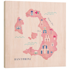 Wood print  Santorini Map - Carly Watts