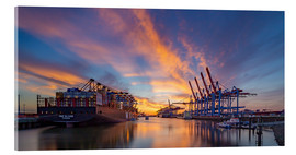 Acrylic print  Sunset at the container terminal Hamburg Waltershof - Heiko Mundel