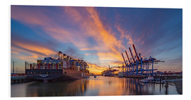 Foam board print  Sunset at the container terminal Hamburg Waltershof - Heiko Mundel