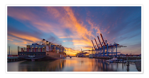 Premium poster Sunset at the container terminal Hamburg Waltershof