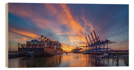Wood print  Sunset at the container terminal Hamburg Waltershof - Heiko Mundel