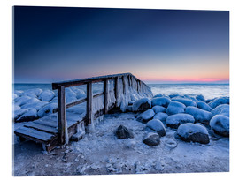 Acrylic print  Jetty on the icy Baltic Sea near Travemünde - Heiko Mundel