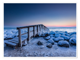 Premium poster  Jetty on the icy Baltic Sea near Travemünde - Heiko Mundel