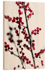 Wood print  Red Berries 1 - Mareike Böhmer