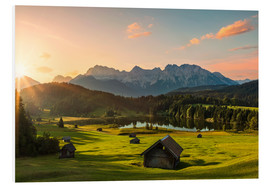 Foam board print  Sunrise in the Karwendel Mountain at Geroldsee - Dieter Meyrl