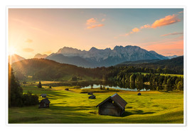 Premium poster  Sunrise in the Karwendel Mountain at Geroldsee - Dieter Meyrl