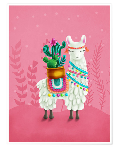 Premium poster Illustration of a cute llama
