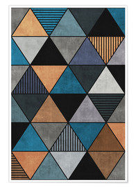 Premium poster Colorful Concrete Triangles 2 Blue Grey Brown