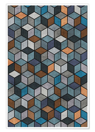 Poster  Colorful Concrete Cubes Blue Grey Brown - Zoltan Ratko