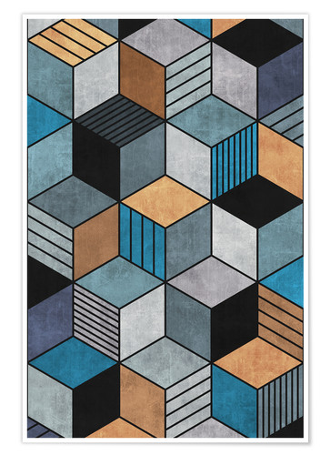 Premium poster Colorful Concrete Cubes 2 Blue Grey Brown