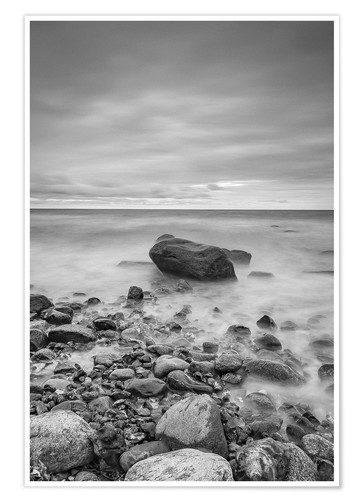 Premium poster Granite in the Baltic Sea (long exposure)