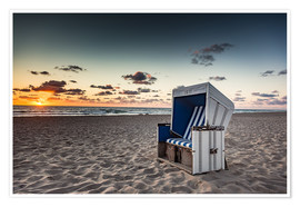 Premium poster Beach chair on Sylt at sunset