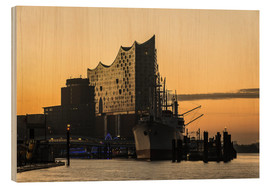 Wood print  Morning mood at the Elbphilharmonie, Hamburg - Heiko Mundel