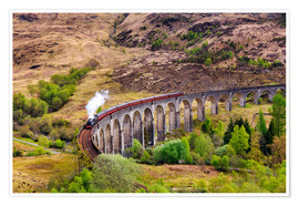 Premium poster Glenfinnan viaduct with incoming train