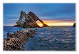 Premium poster Sunrise at Bow Fiddle Rock